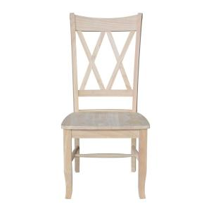 3 International Concepts Unfinished Wood Double X Back Dining Chair