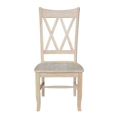Unfinished Wood Double X Back Dining Chair Set Of 2