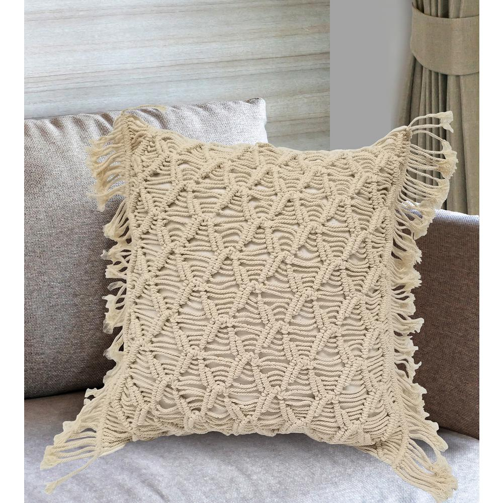 9888b5a9fb72d MIHIR Macrame Decorative Pillow Cover with Fringe-13066 - The Home Depot