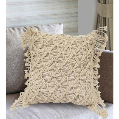 Demori Natural Textured 18 in x 18 in Throw Pillow Cover