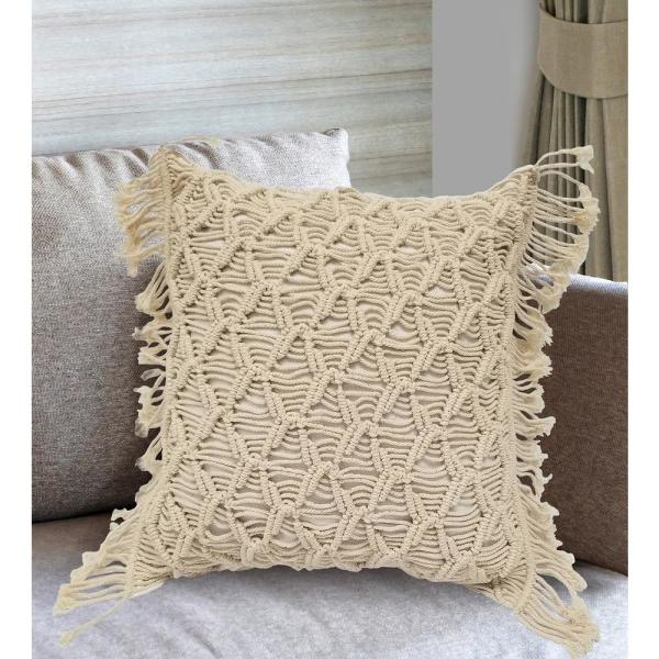 Undefined Mihir Macrame Decorative Pillow Cover With Fringe