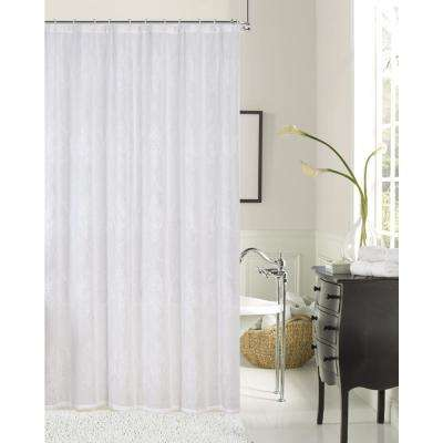 Elizabeth 72 in. Ivory Embroidered Shower Curtain