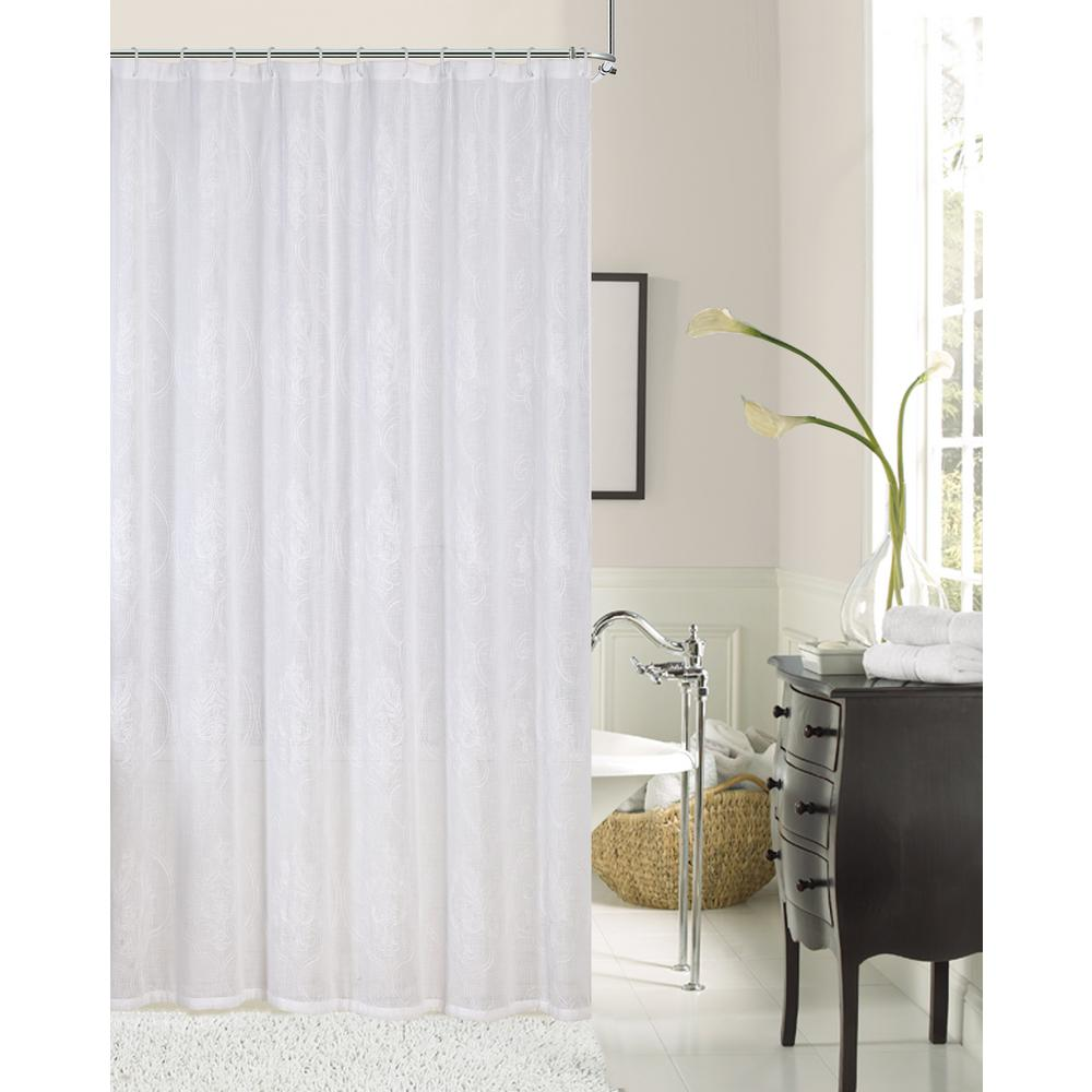 Elizabeth 72 in ivory embroidered shower curtain elisciv for Shower curtain savers