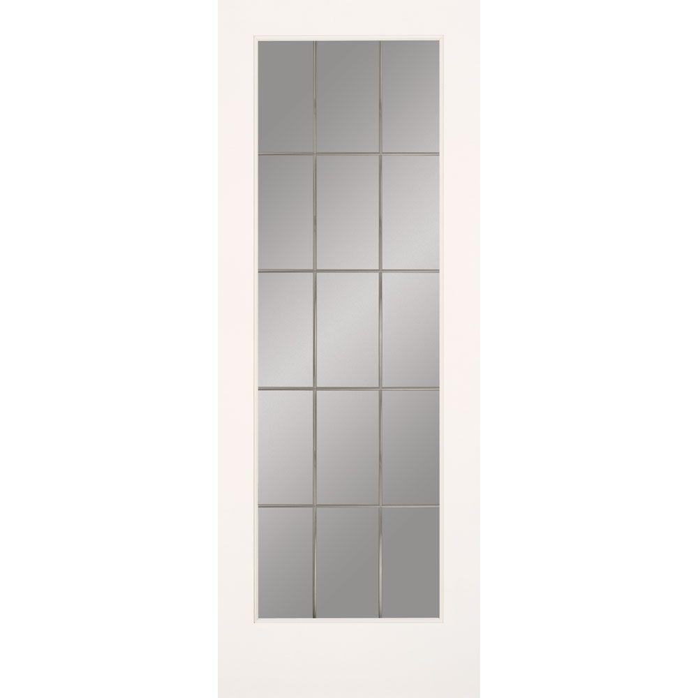 Feather River Doors 30 in. x 80 in. 15 Lite Illusions Smooth Primed MDF Interior Door Slab