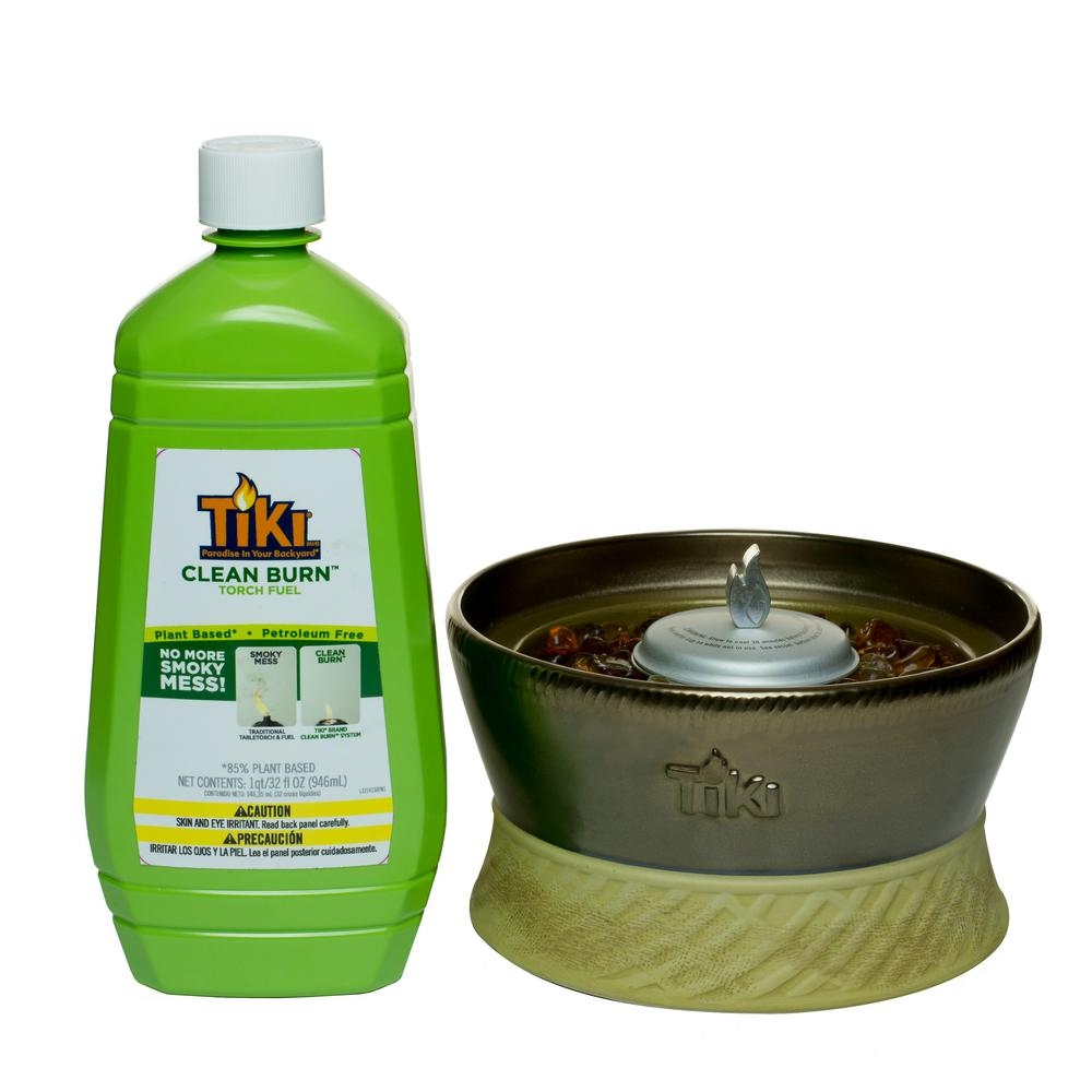 Tiki Clean Burn Bundle 7 In Ceramic Table Torch Bronze And 32 Oz Fuel 111619168 The Home Depot