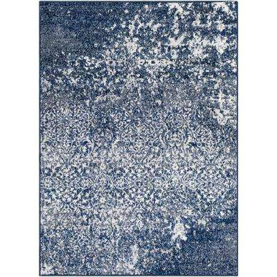 Morana Navy 5 ft. 3 in. x 7 ft. 3 in. Distressed Area Rug