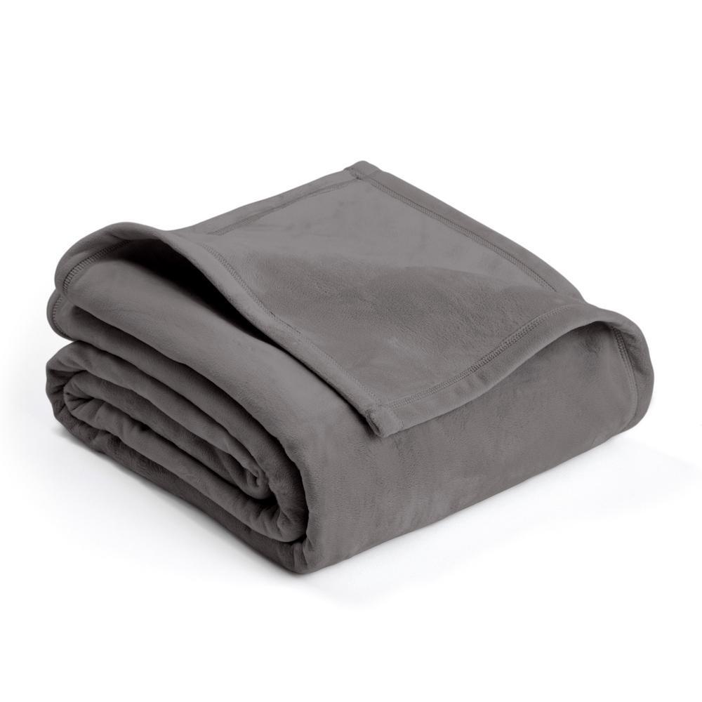 Vellux Plush Tornado Gray Polyester Twin Blanket