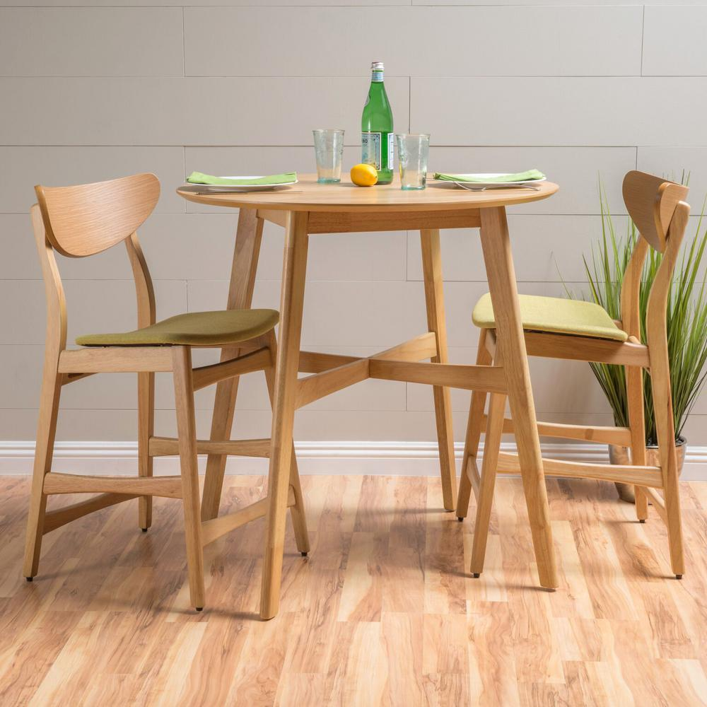 3 Piece Oak And Green Tea Fabric Counter Height Dining Set