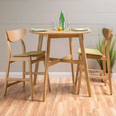 3-Piece Oak and Green Tea Fabric Counter Height Dining Set
