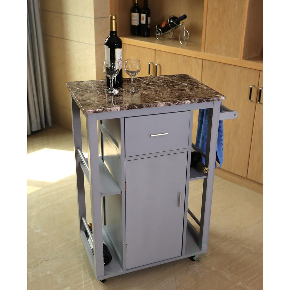 basicwise gray wooden kitchen island on wheels and heavy duty rolling casters - Kitchen Island On Wheels