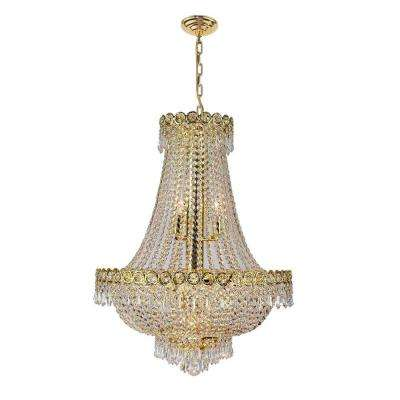 Empire Collection 12-Light Polished Gold and Clear Crystal Chandelier