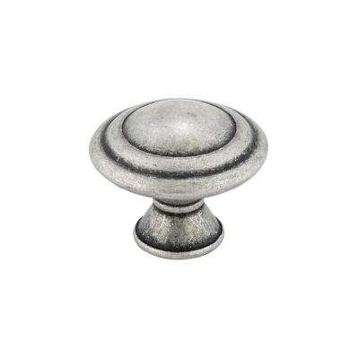 Traditional 1-3/16 in. (30 mm) Old Silver Round Cabinet Knob