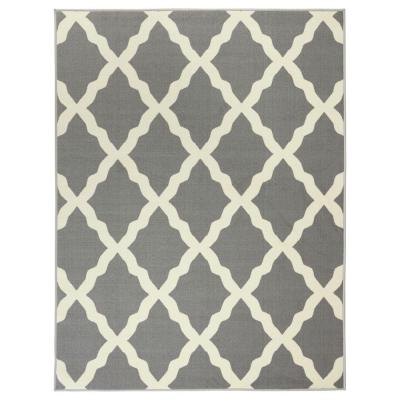 Glamour Collection Contemporary Moroccan Trellis Gray 3 ft. x 5 ft. Kids Area Rug