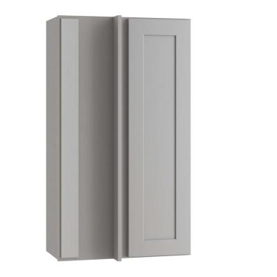 Tremont Assembled 27x36x12 in. Plywood Shaker Wall Blind Corner Kitchen Cabinet Soft Close Left in Painted Pearl Gray