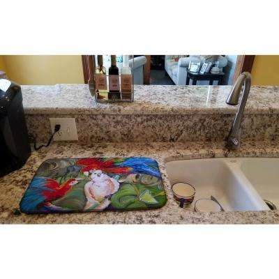 14 in. x 21 in. Multicolor Menage-a-trois Parrots Dish Drying Mat