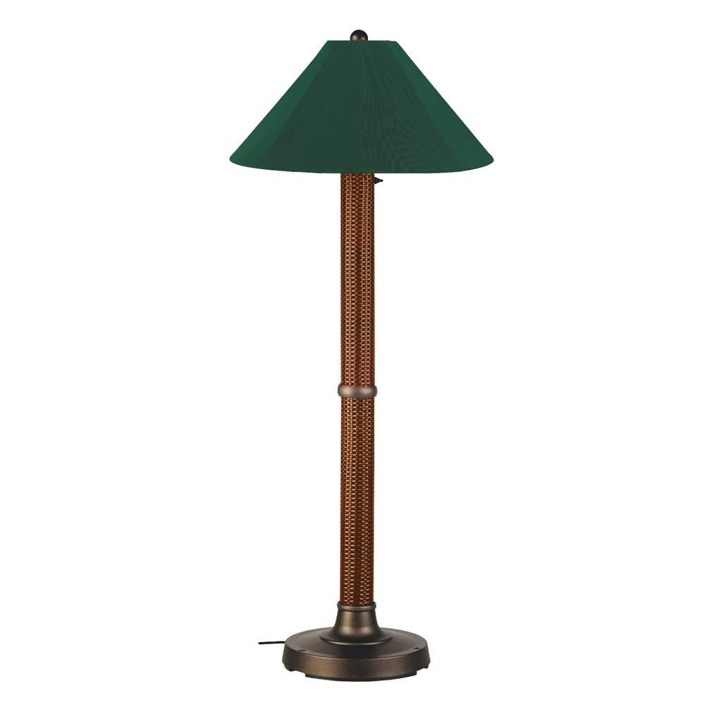 Patio Living Concepts Bahama Weave 60 in. Red Castango Floor Lamp with Forest Green Shade-DISCONTINUED