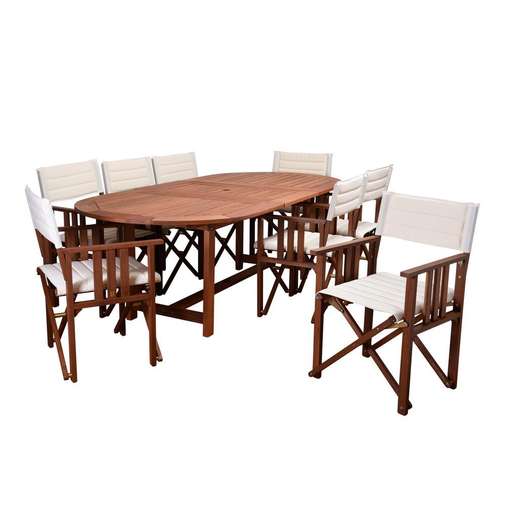 Rio 9-Piece Eucalyptus Oval Patio Dining Set with Off White Canvas