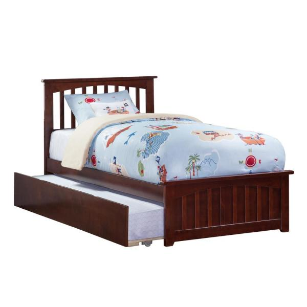 Atlantic Furniture Mission Walnut Twin Platform Bed with Matching Foot Board with Twin Size Urban Trundle Bed