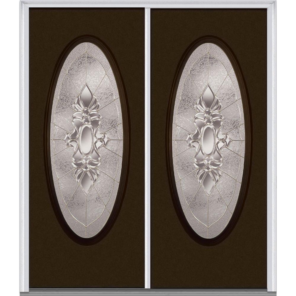64 in. x 80 in. Heirlooms Left-Hand Inswing Oval Lite Decorative Painted Fiberglass Smooth Prehung Front Door