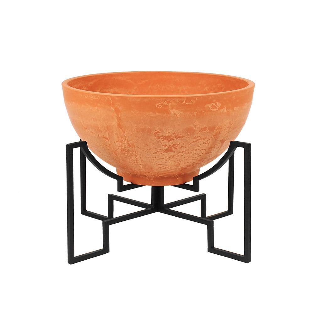 Achla Designs 19 In Dia Terra Cotta Small Modern Jane Stone Planter I Fb 52 S The Home Depot