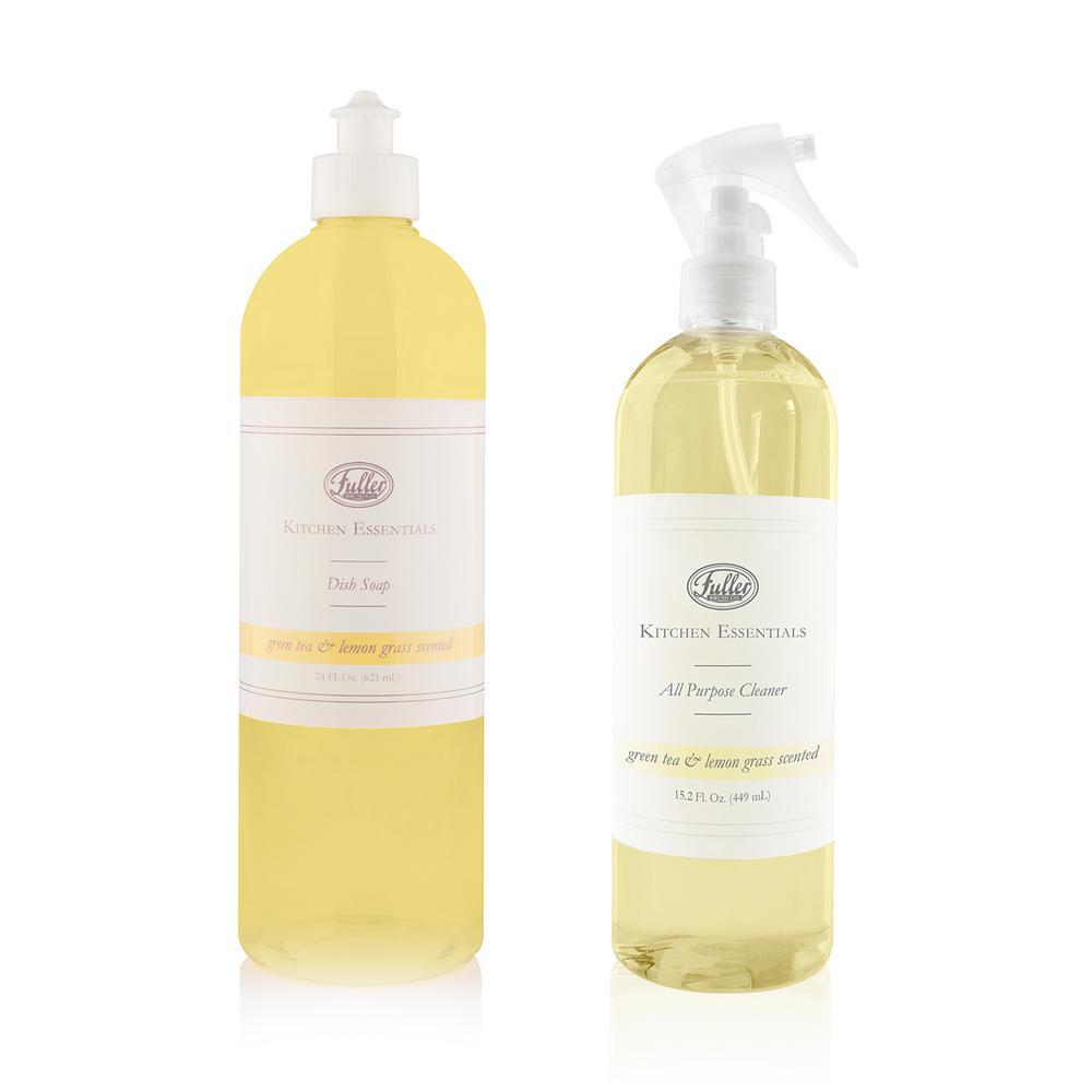 Kitchen Essentials 15 oz. Green Tea/Lemongrass All Purpose Cleaner and 24 oz. Dish Soap