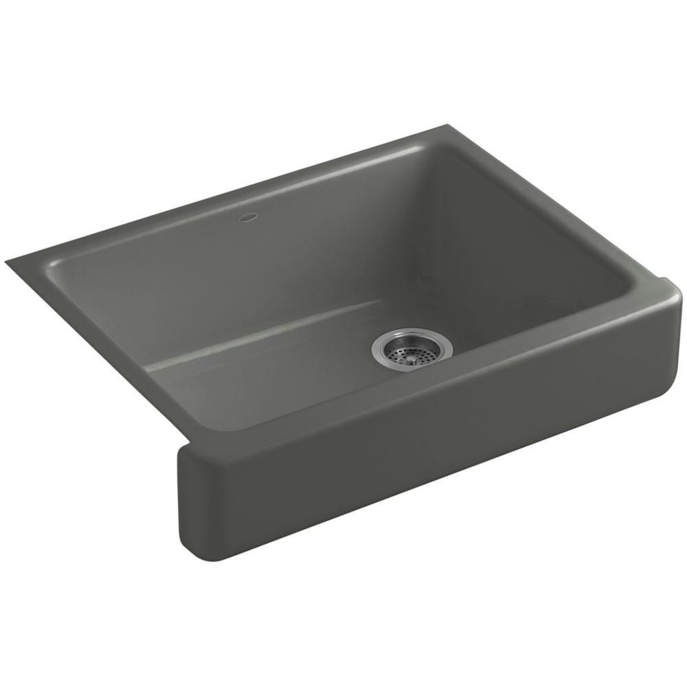 KOHLER Whitehaven Undermount Farmhouse Short Apron-Front Cast Iron 30 in. Single Basin Kitchen Sink in Thunder Grey