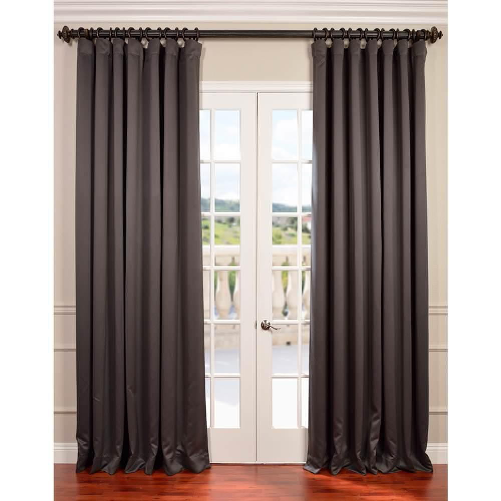 exclusive fabrics furnishings semi opaque anthracite grey doublewide blackout curtain 100 in. Black Bedroom Furniture Sets. Home Design Ideas