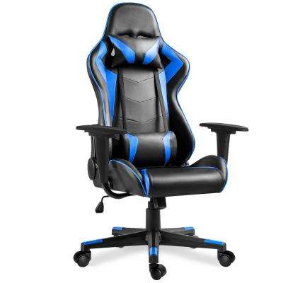 Blue High Back Gaming Chair with Lumbar Support and Headrest
