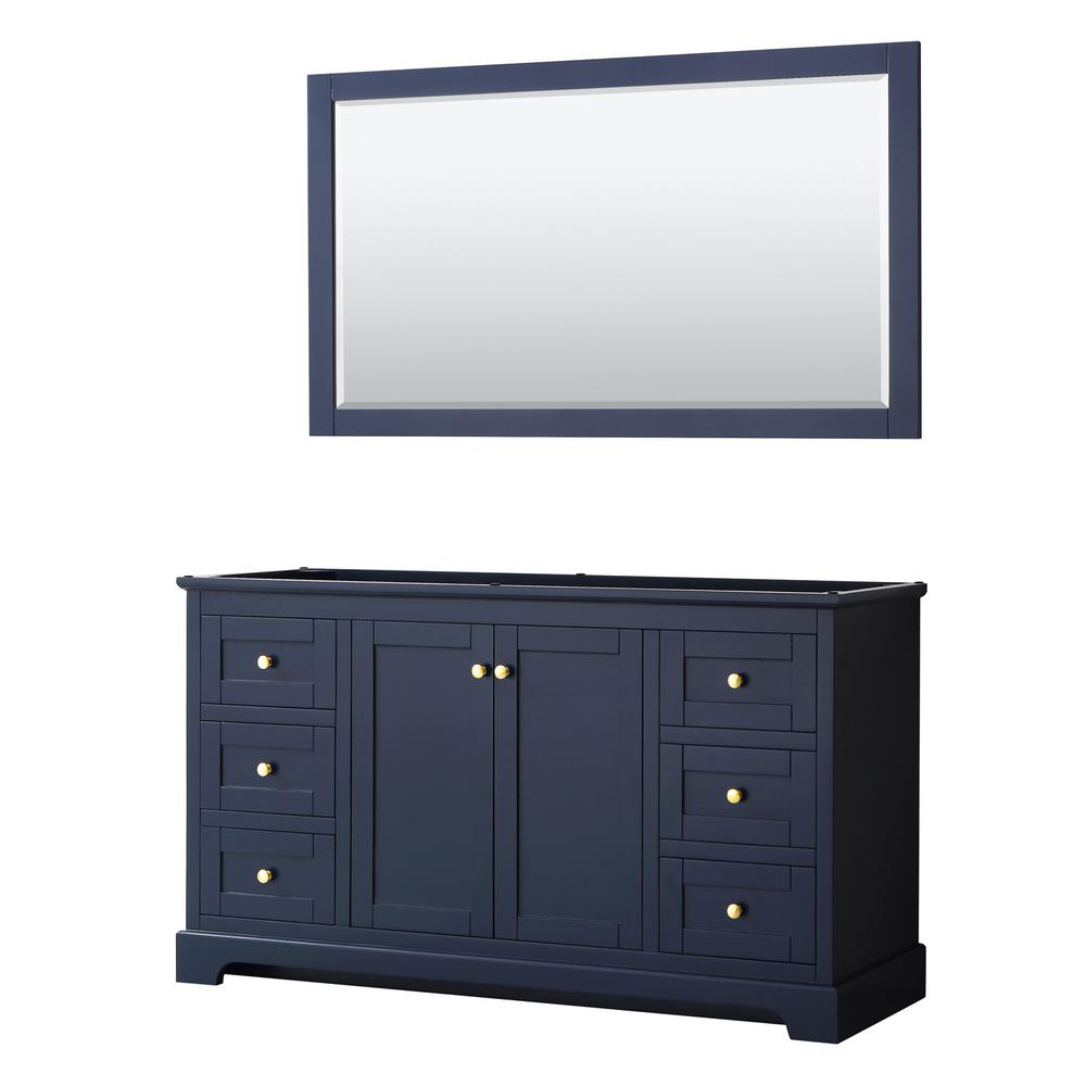 Wyndham Collection Avery 59.25 in. W x 21.75 in. D Bathroom Vanity Cabinet Only with Mirror in Dark Blue