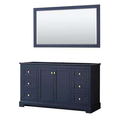 Avery 59.25 in. W x 21.75 in. D Bathroom Vanity Cabinet Only with Mirror in Dark Blue