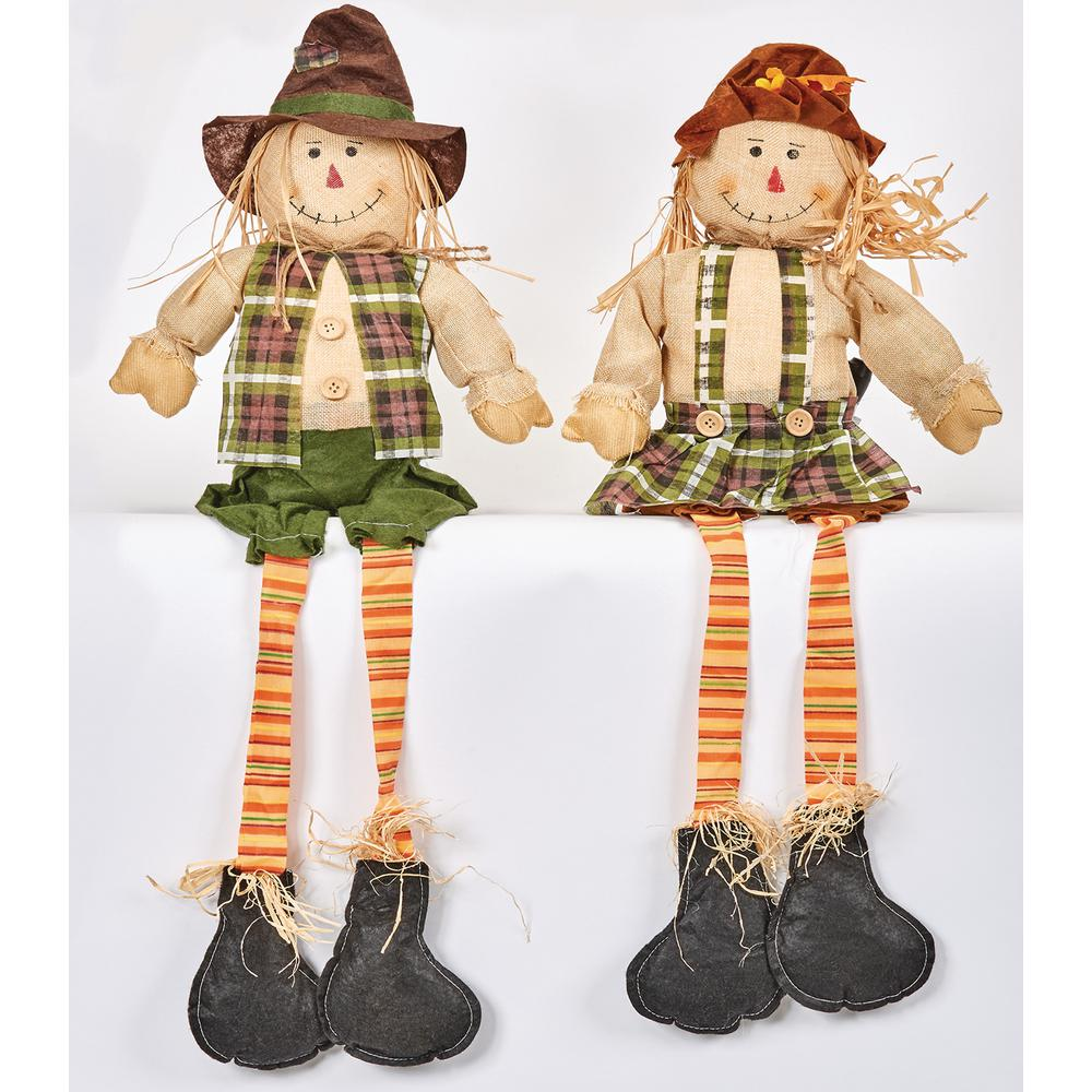 32 in. Scarecrow Sitter with Long Legs (Set of 2)