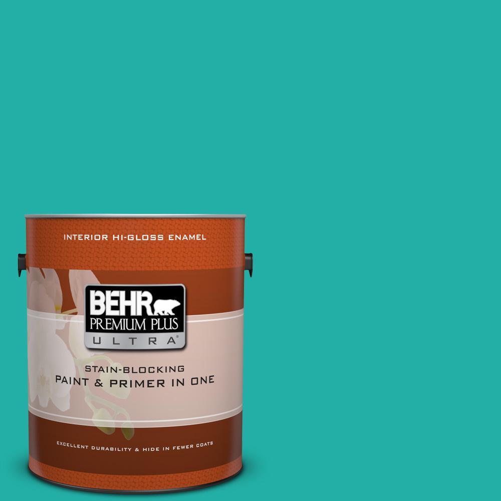 1 gal. #490B-5 Cozumel Hi-Gloss Enamel Interior Paint