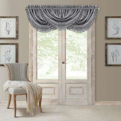 Antonia 52 in. W x 36 in. L, Polyester Blackout Rod Pocket Window Valance in Silver