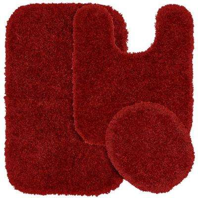 Serendipity Chili Pepper Red 21 in. x 34 in. Washable Bathroom 3-Piece Rug Set