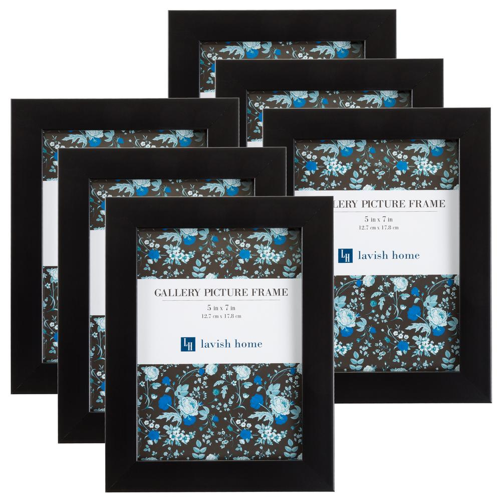 5 in. x 7 in. Black Picture Frame (6-Pack)