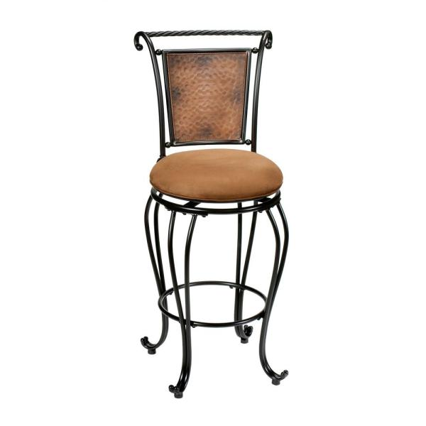 Hillsdale Furniture Milan 30 In Black Copper Swivel Cushioned Bar Stool 4527 831 The Home Depot
