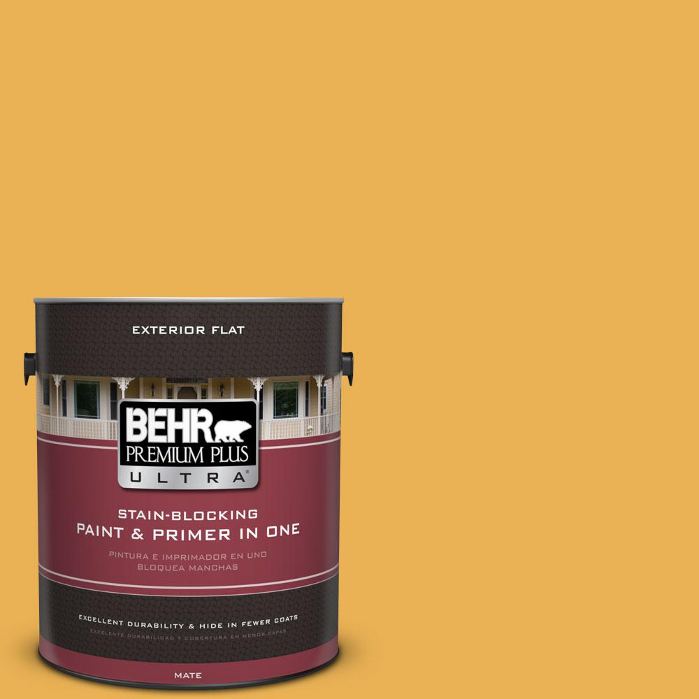BEHR Premium Plus Ultra 1-gal. #PMD-20 Goldenrod Field Flat Exterior Paint