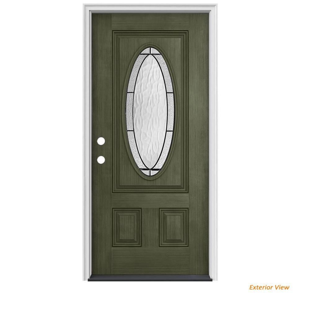 36 in. x 80 in. 3/4 Oval Lite Wendover Juniper Stained Fiberglass Prehung Right-Hand Inswing Front Door