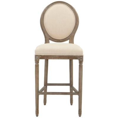 Jacques 30.5 in. Natural Cushioned Bar Stool in Antique Brown with Oval Back
