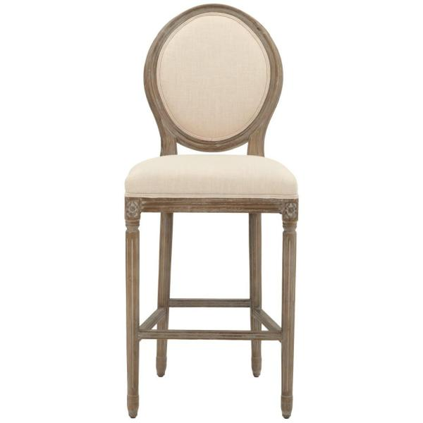 Home Decorators Collection Jacques 30.5 in. Natural Cushioned Bar Stool in Antique Brown with Oval Back