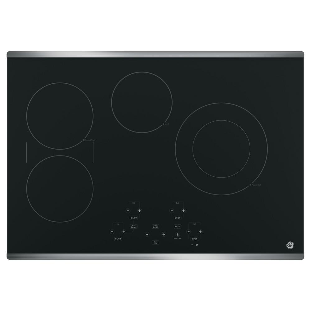 GE 30 in. Radiant Electric Cooktop in Stainless Steel with 4 Elements including Power Boil Element