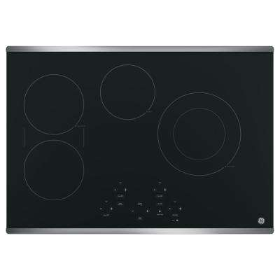 30 in. Radiant Electric Cooktop in Stainless Steel with 4 Elements including Power Boil Element