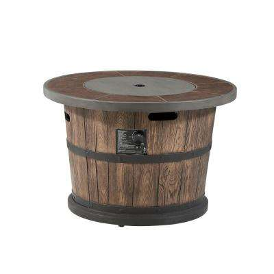 Bromo 36 in. x 24 in. Round MGO Liquid Propane Fire Table in Distressed Brown