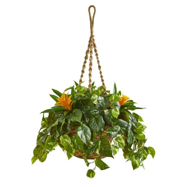 Indoor Bromeliad And Pothos Artificial Plant In Hanging Basket