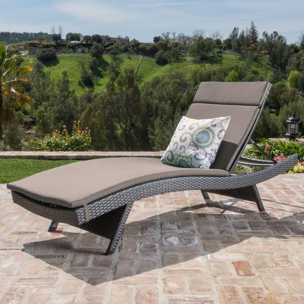 Noble House Miller Grey Armless Wicker Outdoor Chaise Lounge with Charcoal Cushion