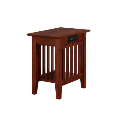 Mission Walnut Chair Side Table with Charging Station