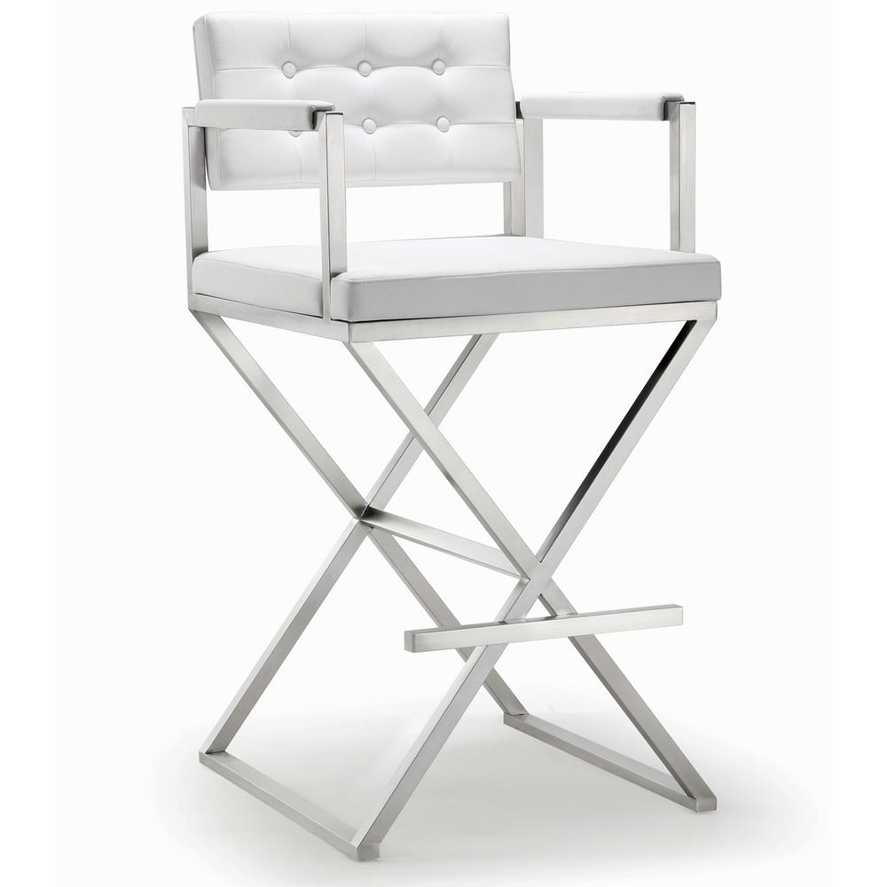 Tov Furniture Director 42 5 In White And Silver Steel