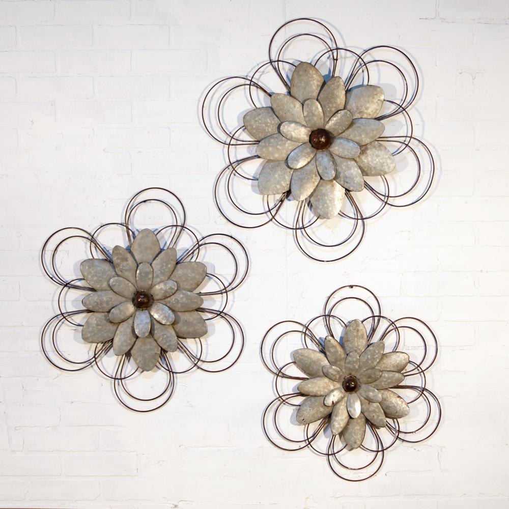 Metal Wall Flowers Metal Wall Flowers Set Of 3Fh1538  The Home Depot