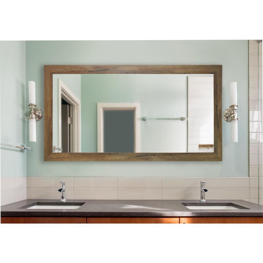 72 in. x 39 in. Brown Barnwood Double Vanity Mirror