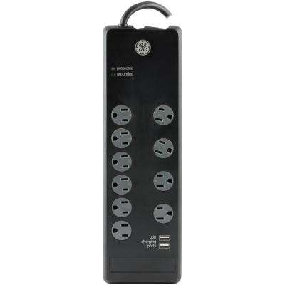 6 ft. 10-Outlet and 2-USB Port, 2.1 Amp, 3000 Joules Surge Protector
